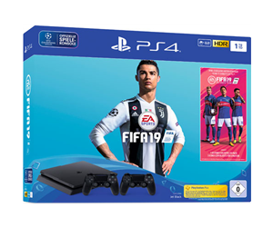 9742715 - Sony PlayStation 4 Slim Black - 1TB (Fifa 19 Bundle - 2 Dual Shock)